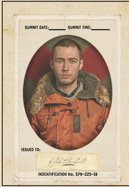 Vintage ID–style image of man wearing orange shearling-trim parka