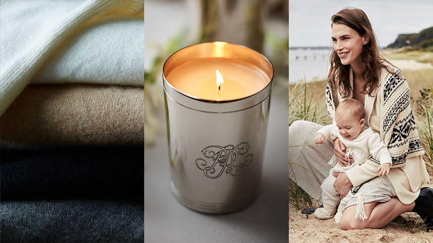Stack of sweaters. 888 Collection Candle. Woman with baby in cream outfits