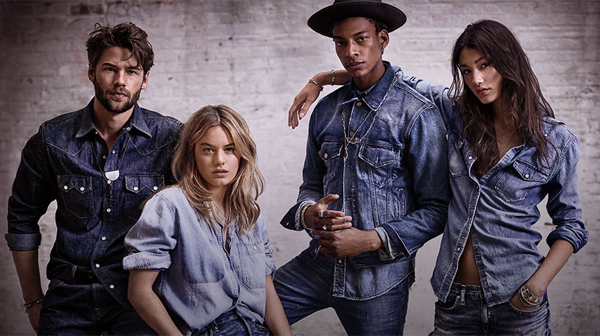 Two men & two women in denim of various shades & styles